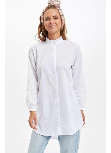 DeFacto Yaka Detaylı Tunik Beyaz